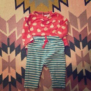 Baby Boden bunny shirt and coordinating pants